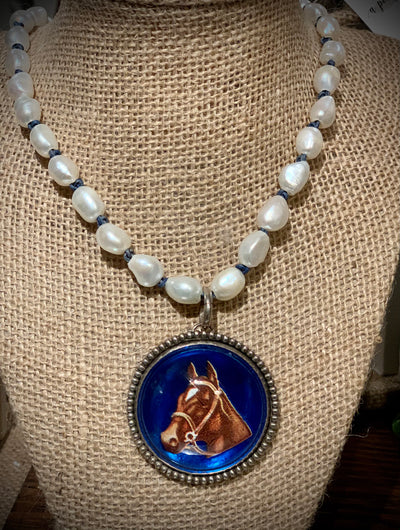 Vintage Bridle Rosette Pendant Necklace - Horse Country Trading Company