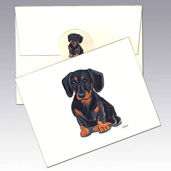 Dachshund Black n Tan Note Cards - Horse Country Trading Company