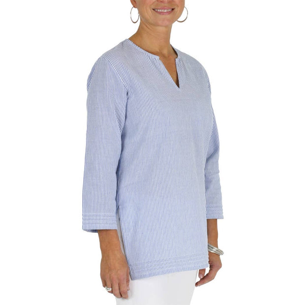 Blue Seersucker Split Neck Tunic - Horse Country Trading Company