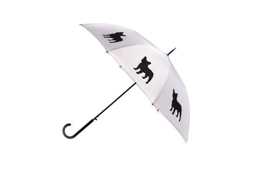 "Black French Bulldog 34.5"" Silver Stick Umbrella - Horse Country Trading Company"