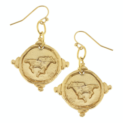 Gold Intaglio Race Horse Earrings - Horse Country Trading Company