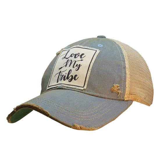 Love My Tribe Distressed Trucker Cap Sky Blue - Horse Country Trading Company