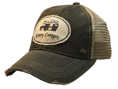 Happy Camper Distressed Trucker Cap - Horse Country Trading Company