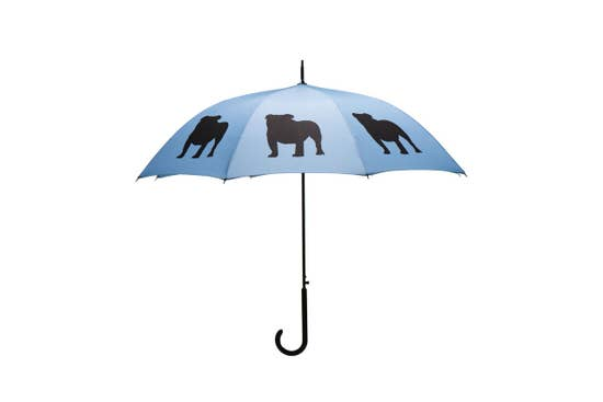 "Black English Bulldog 34.5"" Blue Stick Umbrella - Horse Country Trading Company"