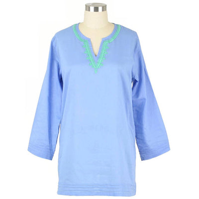 Carolina Blue Split Neck Tunic - Horse Country Trading Company