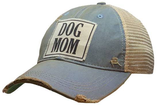 Dog Mom Distressed Trucker Cap Sky Blue - Horse Country Trading Company