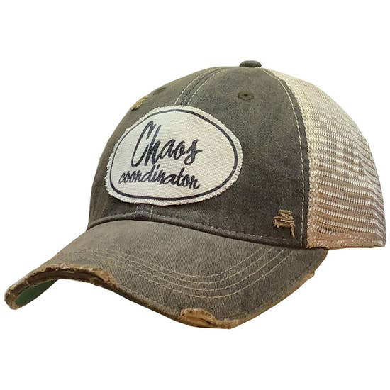 Chaos Coordinator Distressed Trucker Cap Black - Horse Country Trading Company