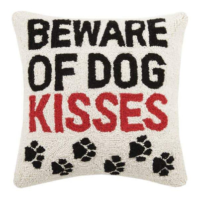 Beware of Dog Kisses Paw Print Hook Pillow - Horse Country Trading Company