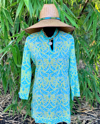 Tobago Aqua Split Neck Tunic - Horse Country Trading Company