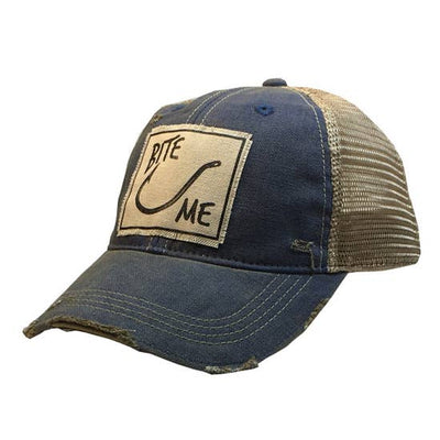 Bite Me Distressed Trucker Cap Royal Blue - Horse Country Trading Company