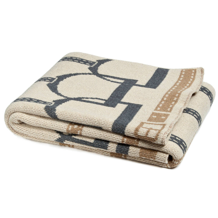 Stirrup Throw Blanket Flax/Smoke/Hemp - Horse Country Trading Company