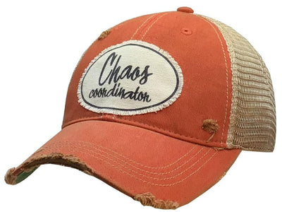 Chaos Coordinator Distressed Trucker Cap Orange - Horse Country Trading Company