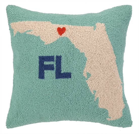 My Heart In Florida Hook Pillow - Horse Country Trading Company