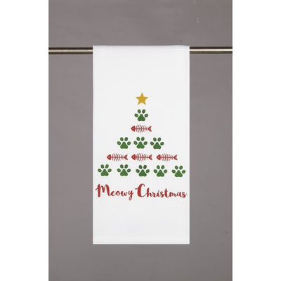 Meowy Christmas Hand Towel - White - Horse Country Trading Company