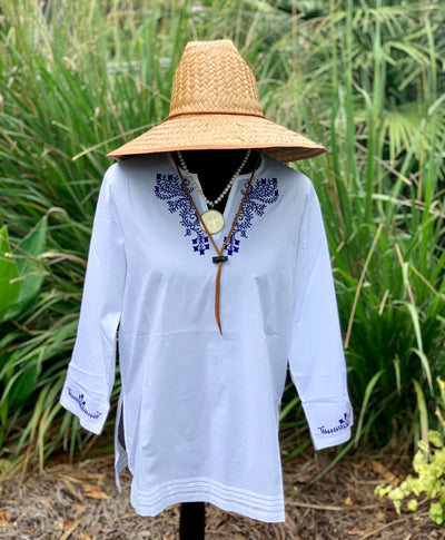 Fiji Navy Embroidered Tunic - Horse Country Trading Company