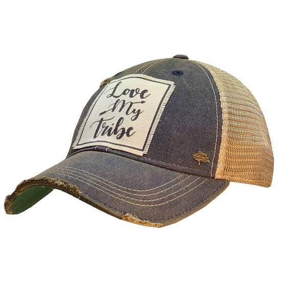 Love My Tribe Distressed Trucker Cap Navy Blue - Horse Country Trading Company