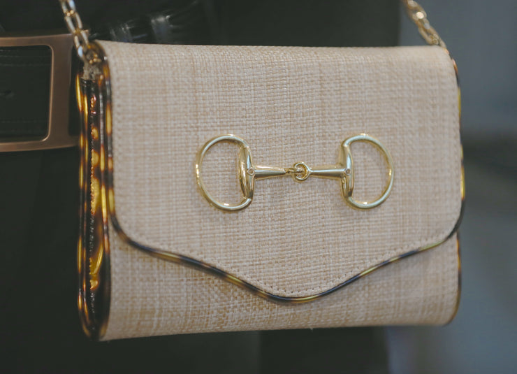 Sadie Tan/Tortoise with Gold Snaffle Clutch - Horse Country Trading Company
