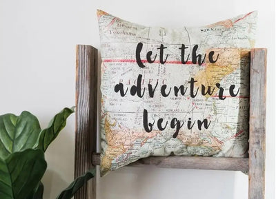 Let The Adventure Begin Map Throw Pillow - Horse Country Trading Company