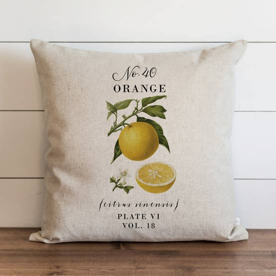 Orange Botanical Pillow - Horse Country Trading Company