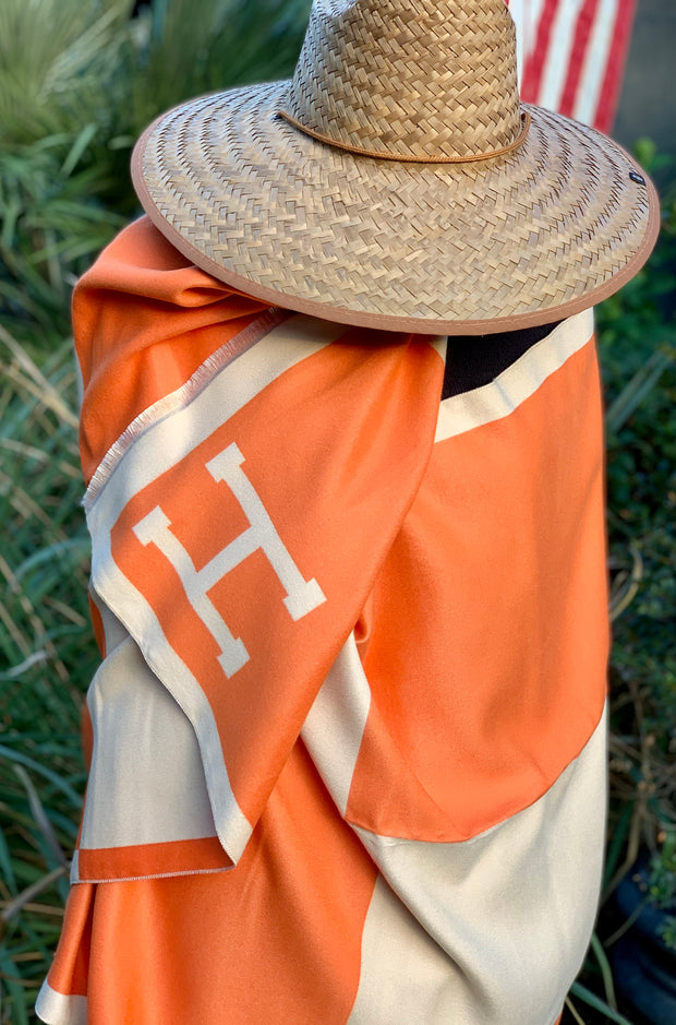 Imitation Cashmere Reversible Orange Large H Wrap - Horse Country Trading Company