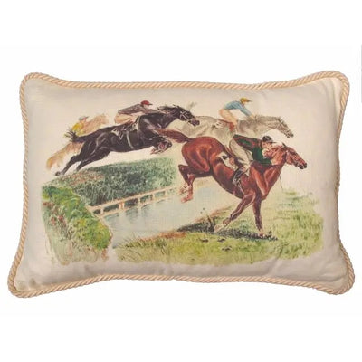 Horses Over Fence Pillow - Natural Linen - Horse Country Trading Company