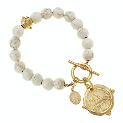 White Turquoise with Italian Intaglio Equestrian Bracelet - Horse Country Trading Company