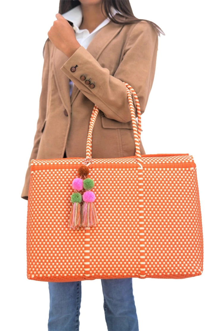 Bombon Tote Orange/Bone - Horse Country Trading Company