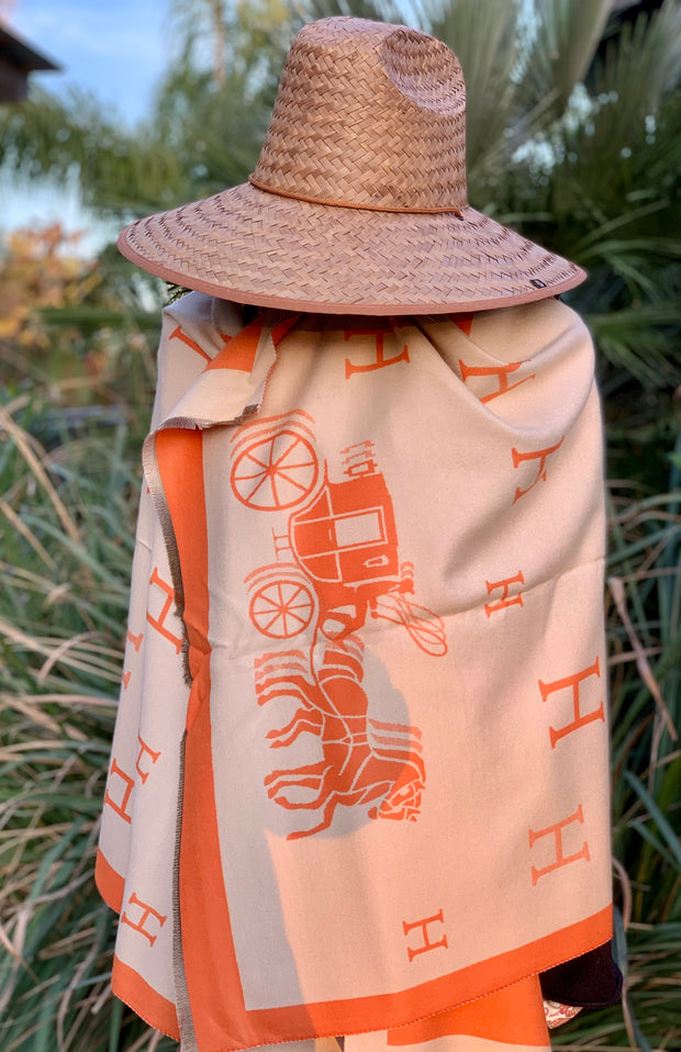 Imitation Cashmere Reversible Orange H & Carriage Wrap - Horse Country Trading Company