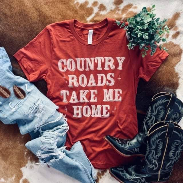 Country Roads Take Me Home Graphic Tee - Horse Country Trading Company