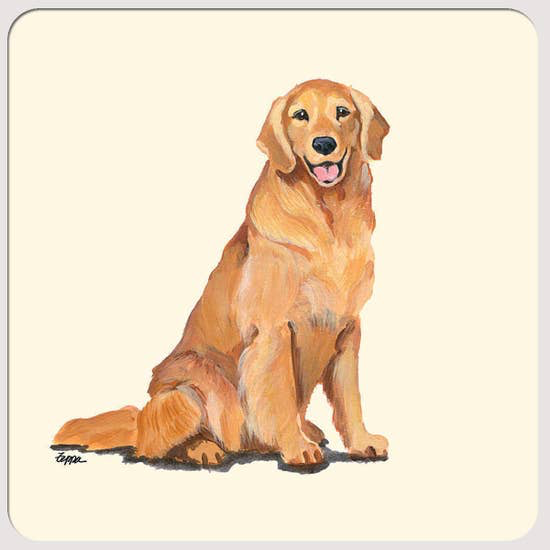 Golden Retriever Smiling Beverage Coasters - Horse Country Trading Company