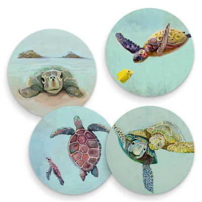 Tropical Turtles Coasters - Set of 4 - Horse Country Trading Company