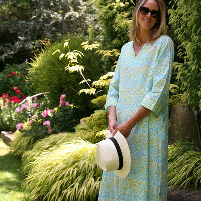 Tobago Aqua Long Split Neck Kaftan - Horse Country Trading Company