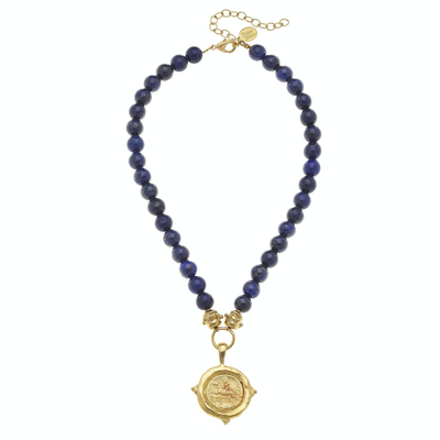Gold Equestrian on Genuine Lapis Necklace - Horse Country Trading Company