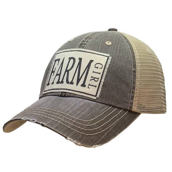 Farm Girl Distressed Trucker Cap Light Brown - Horse Country Trading Company