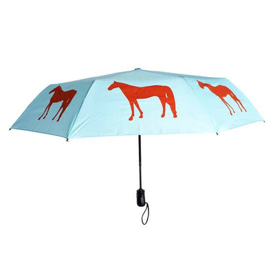"Red Horse 12"" Blue Collapsible Umbrella - Horse Country Trading Company"