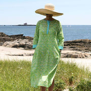Sanibel Jade Long Button Front Kaftan - Horse Country Trading Company