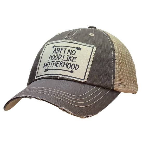 Ain't No Hood Like Motherhood Distressed Trucker Cap - Horse Country Trading Company