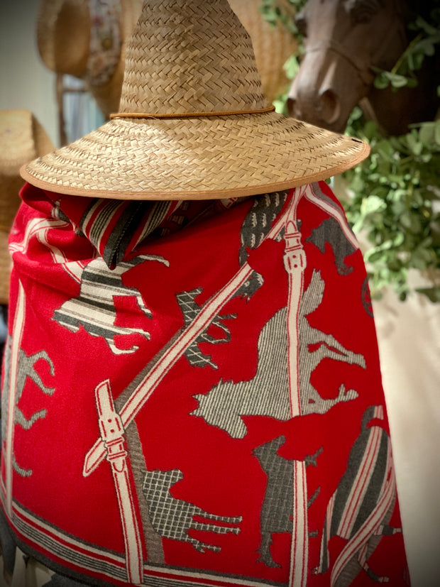 Imitation Cashmere Red/Grey Wrap - Horse Country Trading Company