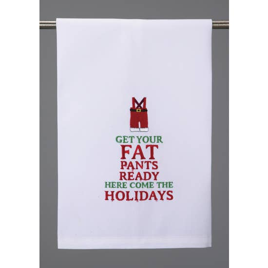 Get Your Fat Pants Ready Hand Towel - White - Horse Country Trading Company