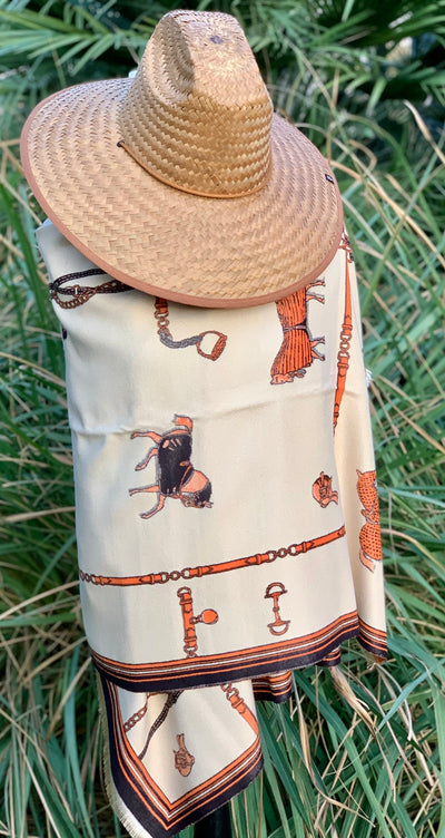 Imitation Cashmere Tan/Black/Orange Wrap - Horse Country Trading Company
