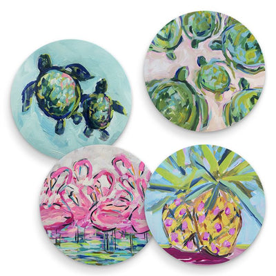 Tropical Feeling Coasters - Set of 4 - Horse Country Trading Company