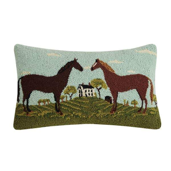 Double Horse Hook Pillow - Horse Country Trading Company