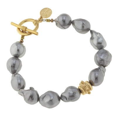 Gold Bead & Genuine Grey Freshwater Baroque Pearl Bracelet - Horse Country Trading Company