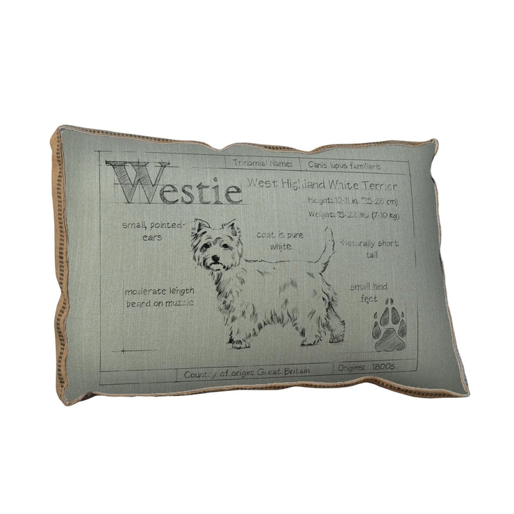 Blueprint Westie Pillow - Horse Country Trading Company