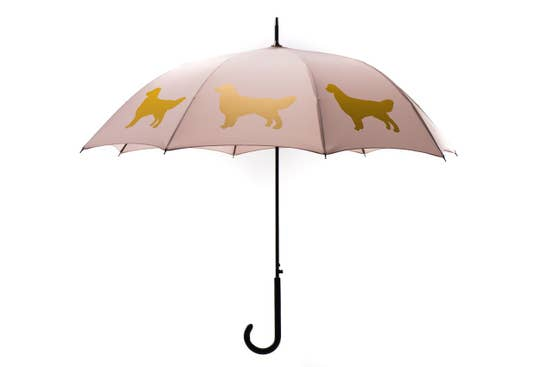 "Golden Retriever 34.5"" Taupe Stick Umbrella - Horse Country Trading Company"