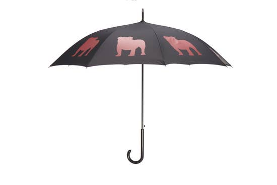 "Red English Bulldog 34.5"" Black Stick Umbrella - Horse Country Trading Company"
