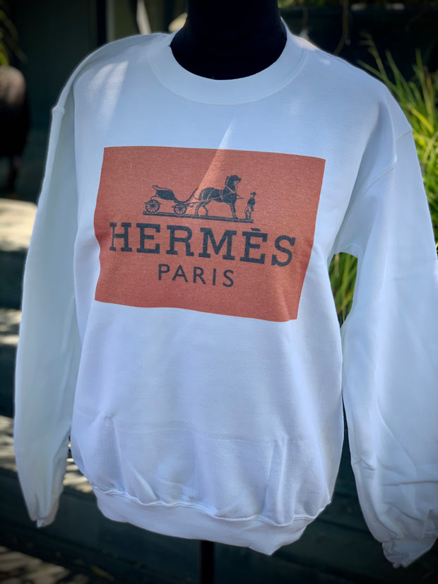 Hermes Inspired Orange Label Ladies Sweatshirt