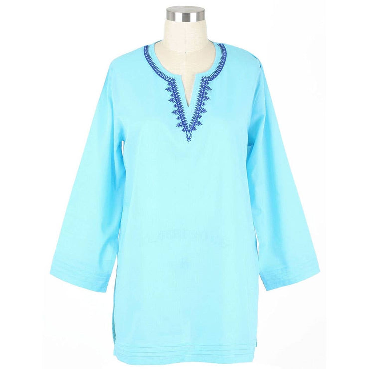 Carolina Aqua Split Neck Tunic - Horse Country Trading Company