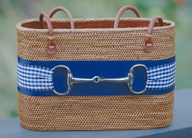 Large Tan Charlotte Silver Snaffle Handbag Blue Gingham Ribbon - Horse Country Trading Company