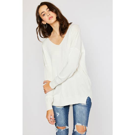 Ivory V-Neck Drop Shoulder Sweater - Horse Country Trading Company